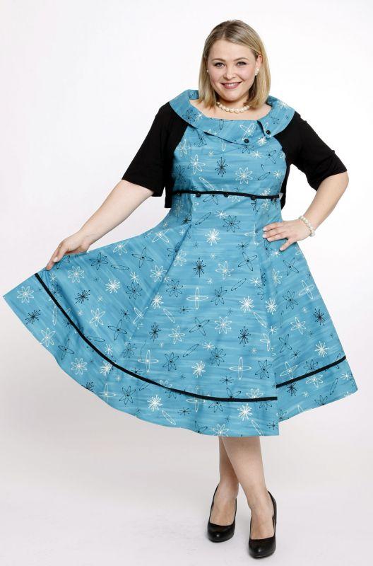 SKY - 50s Kleid - blau/schwarz/weiß - Gr. 50-52 - debbys.de