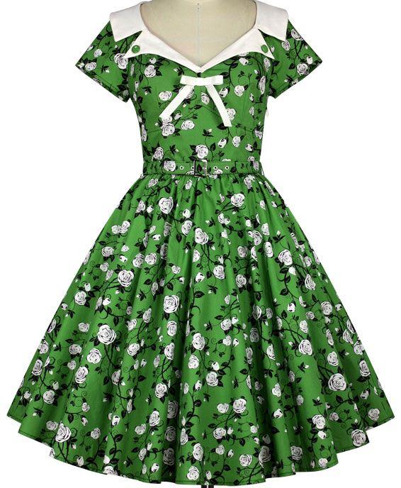 73b62e60ecbd5a SPRING - 50s Romantik Kleid - grün/weiß/schwarz - Gr. 46 - debbys.de
