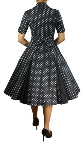 dotty black 50s kleid schwarz weiss debbys moppelmode. Black Bedroom Furniture Sets. Home Design Ideas