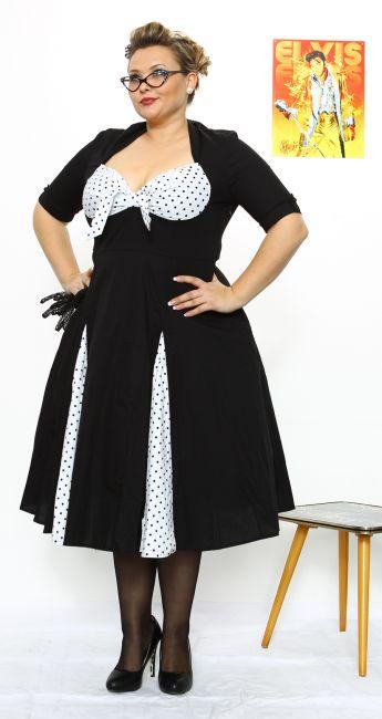 DOTTY WHITE - 50s Kleid - schwarz/weiss - debbys.de