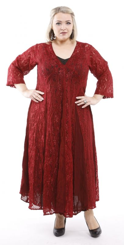 LACE PRINCESS - Spitzenkleid - rot/weinrot