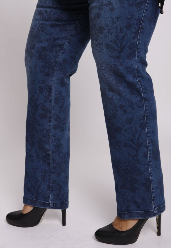 KJ Brand - Druckjeans floral used (Betty) - blau