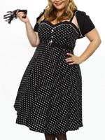 Rockabilly Kleider: TESSA DOTS - 50s Kleid - 2-teilig